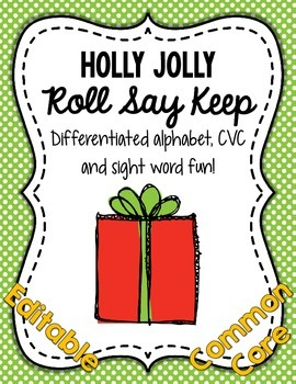 Holly Jolly Roll Say Keep: Editable Alphabet, CVC & Sight