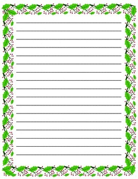 Holly Leaf Writing Paper- Letter to a Soldier or Letter to Santa