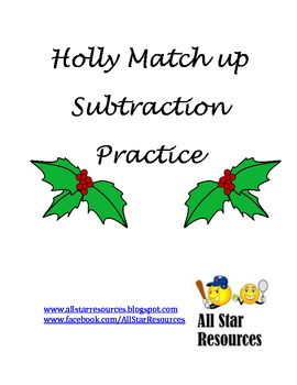 Holly Match Up--Subtraction Practice