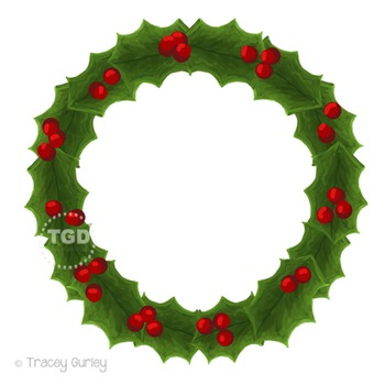 Holly Wreath Clip Art, Hand painted clipart Printable Tracey Gurley Designs
