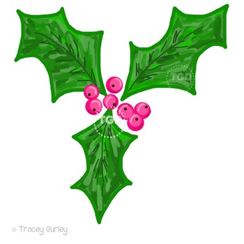 Holly with Pink Berries Clip Art Printable Tracey Gurley Designs
