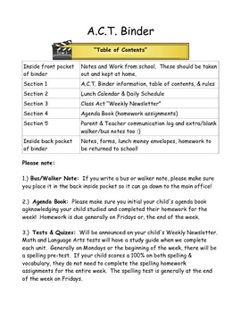 hollywood act binder table of contents by jessica estep tpt