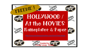 Hollywood / At the Movies Nameplate, Name tag, & Paper