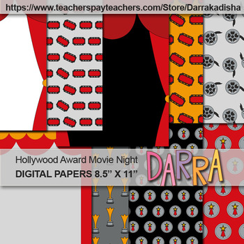Hollywood Award Movie Night Background Digital Papers - commercial use