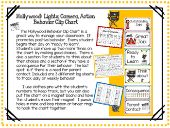 Hollywood Behavior Clip Chart Lights Camera Action