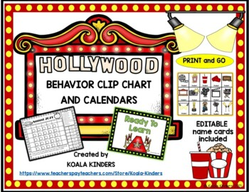 Hollywood Behavior Clip Charts and Calendars PRINT and GO 2018