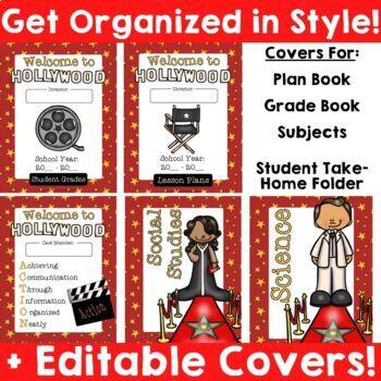 Hollywood Theme: Binder Covers (Editable)