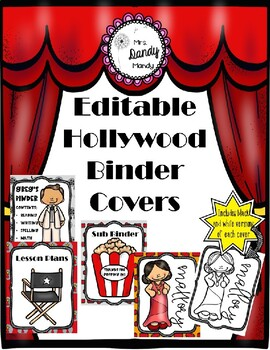 Hollywood Binder Covers/Folder Inserts {Editable}