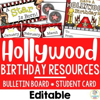 Hollywood Theme:  Birthday Resources (Editable)