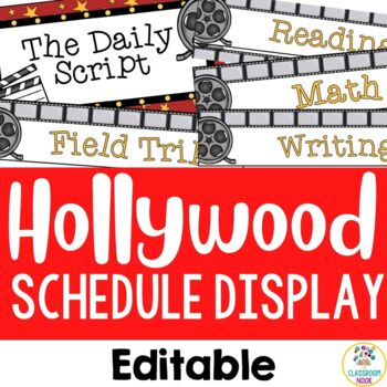 Hollywood Theme:  Class Schedule Display (Editable)