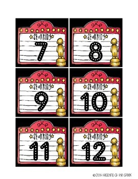 Hollywood Themed Classroom Numbers (Black)