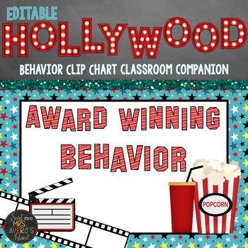 Hollywood Classroom Theme Decor Behavior Clip Chart - Editable