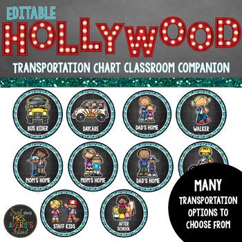 Hollywood Classroom Theme Decor Dismissal Chart - Editable