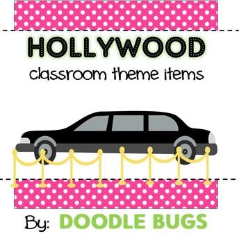 Hollywood Classroom Theme Items {calendar cards, desk plates, etc...}