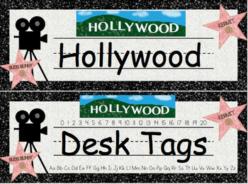Hollywood Desk Tags (Editable)