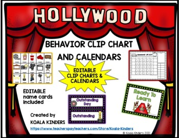 Hollywood EDITABLE Behavior Clip Charts and Calendars 2018