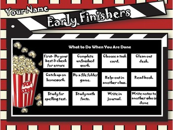 Hollywood Early Finishers Board- For Smartboard Display, Lesson Plans, Sub Plans