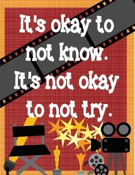 """Hollywood Growth Mindset Posters - 8.5""""x11"""", 18""""x24"""" - Ready for Printing"""