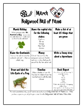 Hollywood Hall of Fame Activities for Early Finishers