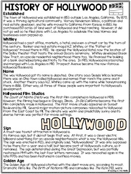 Hollywood History Reading Comprehension, High Interest; Movies; California