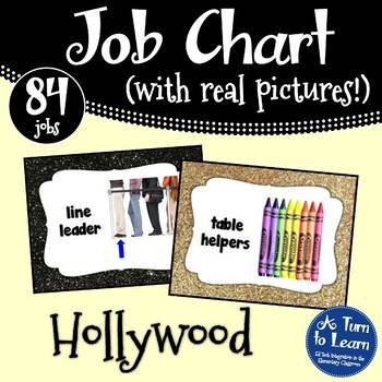 Hollywood Jobs - Black and Gold Themed Job Chart with Pictures!