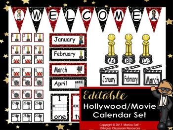 Hollywood/Movie Calendar Set EDITABLE!