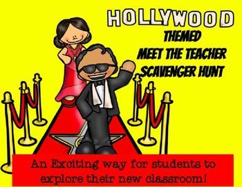 Editable Hollywood/Movie Star Meet the Teacher Scavenger Hunt