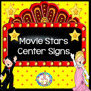 Hollywood Movie Stars  Themed Center Signs and  Management  Cards ~ Editable