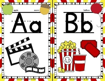 Hollywood Movie Theme Alphabet and Word Wall Letter Cards