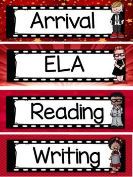 Hollywood Movie Theme Classroom Decor - Class Schedule - Editable