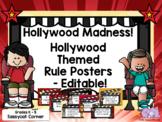 Hollywood Movie Theme Classroom Decor Rules Posters - Editable