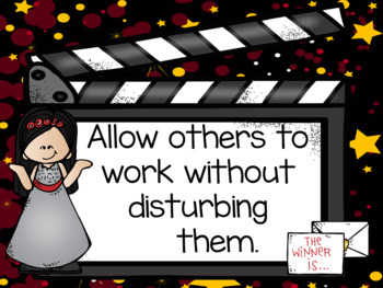Hollywood Movie Theme Classroom Decor Rules Posters - Editable