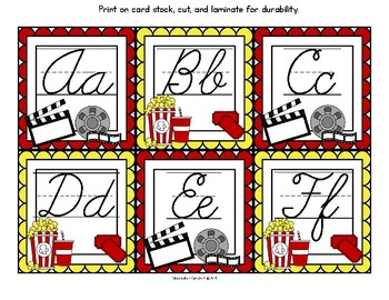 Hollywood Movie Theme Cursive Alphabet and Word Wall Letter Cards