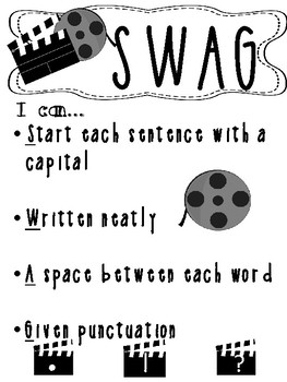 Hollywood Movie Theme SWAG_ Sentence Writing Poster