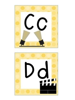 Word Wall Letters and Alphabet Heading Hollywood Movie Theme
