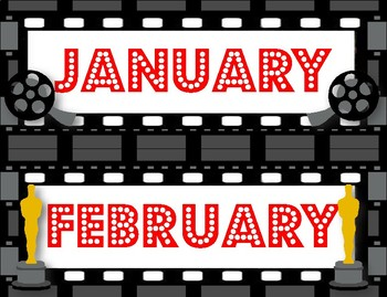 Hollywood Movie Themed Month Signs