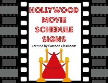 Hollywood Movie Themed Schedule Signs