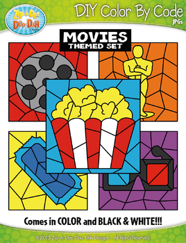 Hollywood Movies Color By Code Clipart {Zip-A-Dee-Doo-Dah Designs}