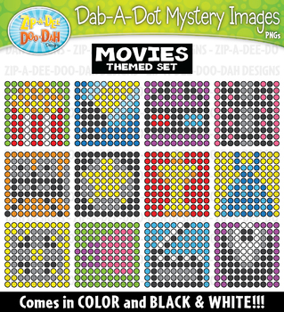 Hollywood Movies Dab-A-Dot Mystery Images Clipart {Zip-A-Dee-Doo-Dah Designs}