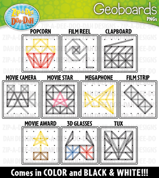 Hollywood Movies Geoboards Clipart {Zip-A-Dee-Doo-Dah Designs}