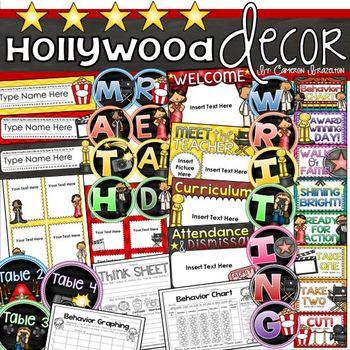 Hollywood Movies Theme Class Decor Bundle (Behavior Chart, Name Plates, Signs)