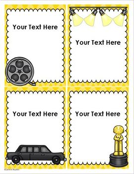 Hollywood Movies Theme Classroom Labels Decorations Editable