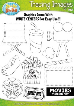 Hollywood Movies Themed Tracing Image Clipart Set — Includ