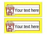 Hollywood Popcorn Movie Theme Editable Nameplates