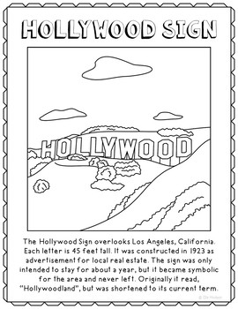 Hollywood Sign Informational Text Coloring Page Craft or Poster, California
