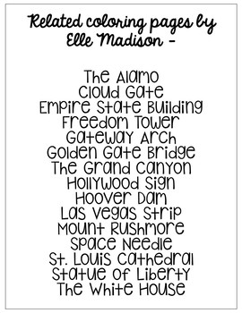 Hollywood Sign Informational Text Coloring Page Craft Or Poster Sketch California Pages