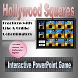 Hollywood Squares, Adding and Subtracting Fractions with U