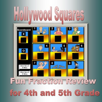 Hollywood Squares Fractions Review  for Fourth Grade.