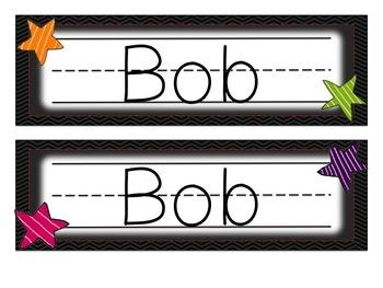 Hollywood Star Name Plates Desk Tags - Editable!