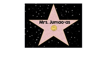 Hollywood Star Name Tags Editable